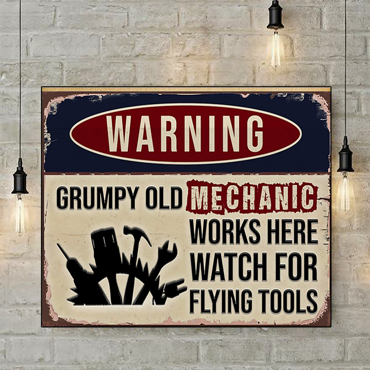 Warning grumpy old mechanic works here watch for flying tool poster A2