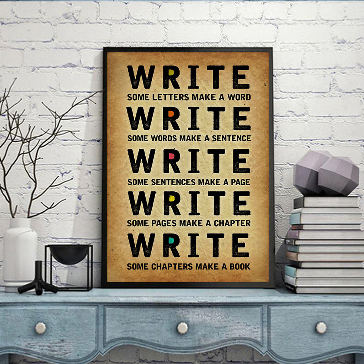 Write some letters make a word poster A3