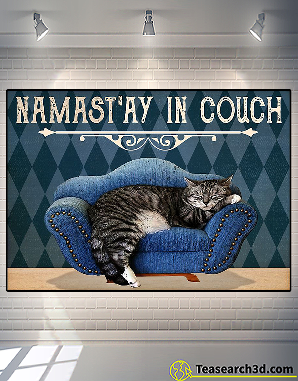 Yoga cat namast'ay in couch poster