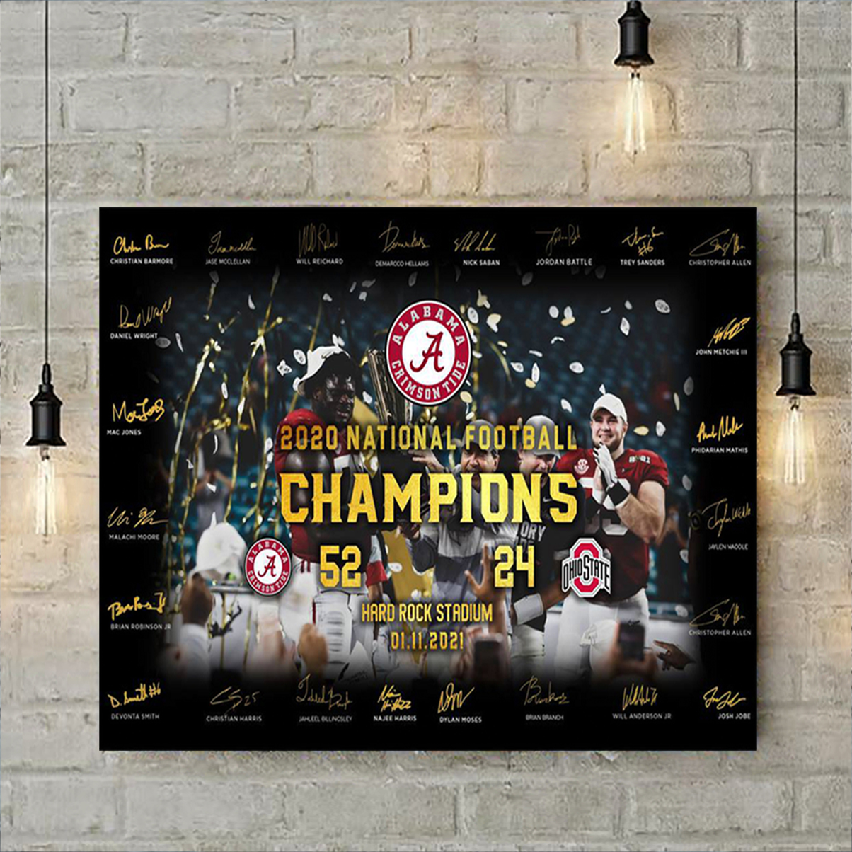 Alabama crimson tide 2020 national football champion poster A1
