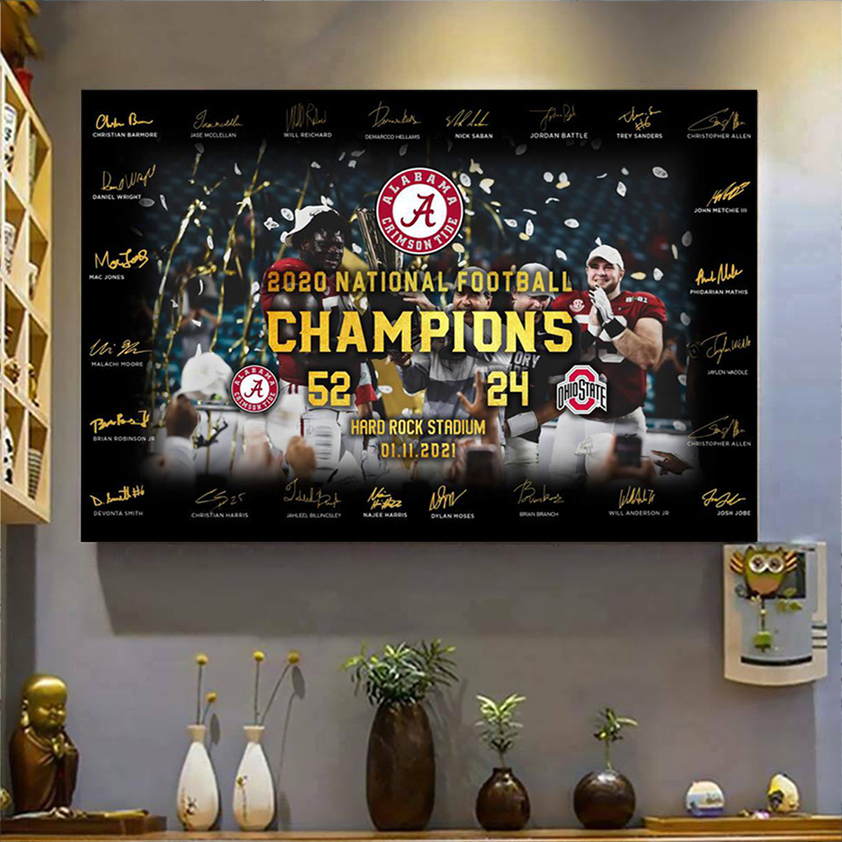Alabama crimson tide 2020 national football champion poster A2