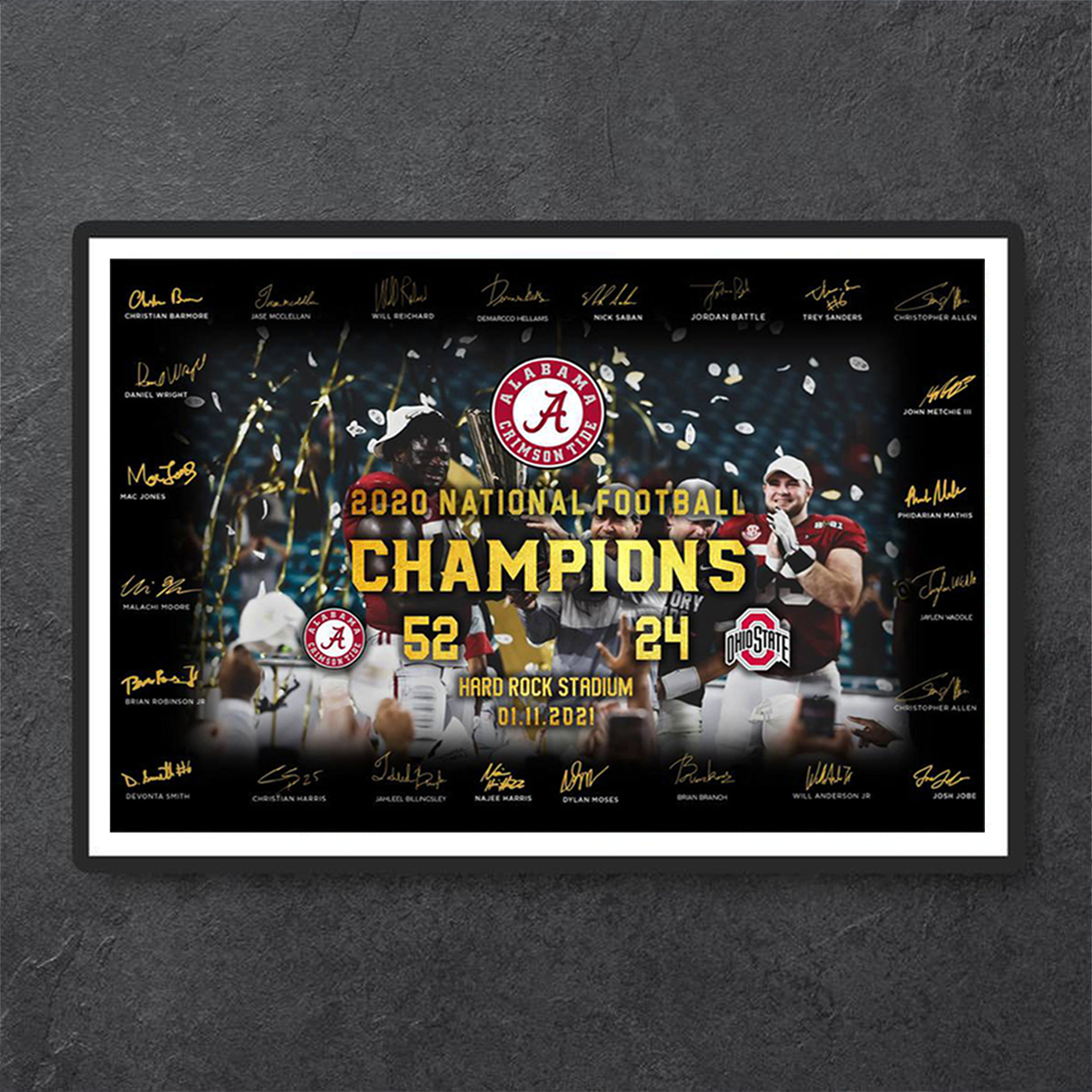 Alabama crimson tide 2020 national football champion poster A3