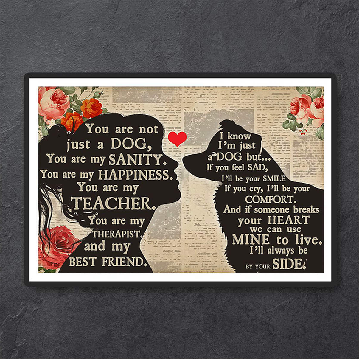 Border Collie girl you are not just a dog poster A2