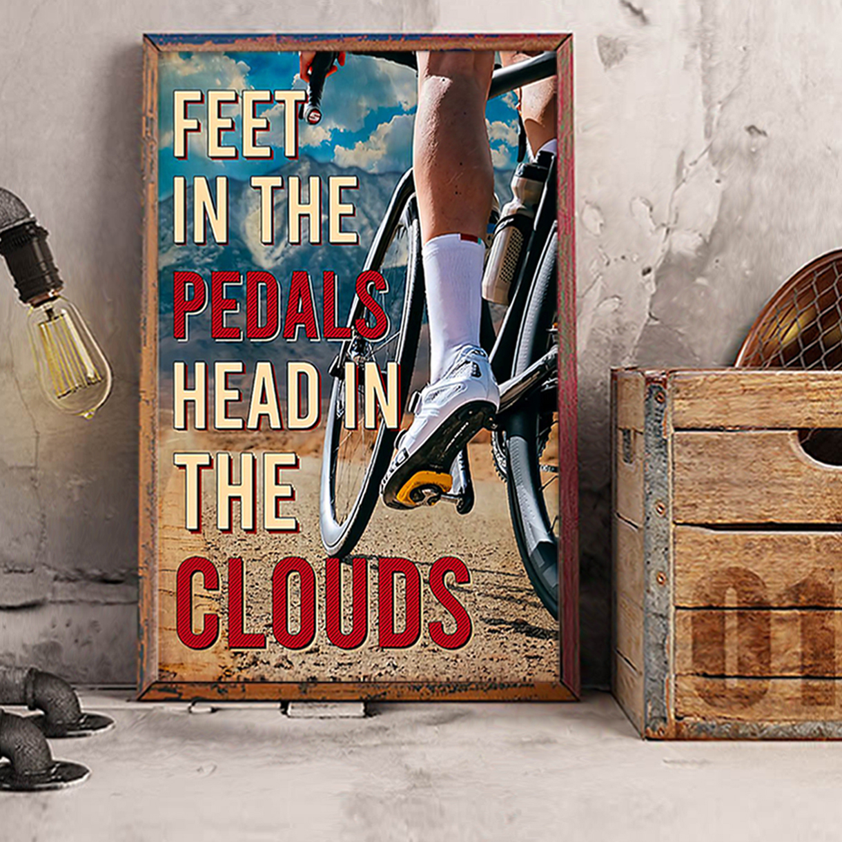 Cycling feet in the pedals head in the clouds poster A2