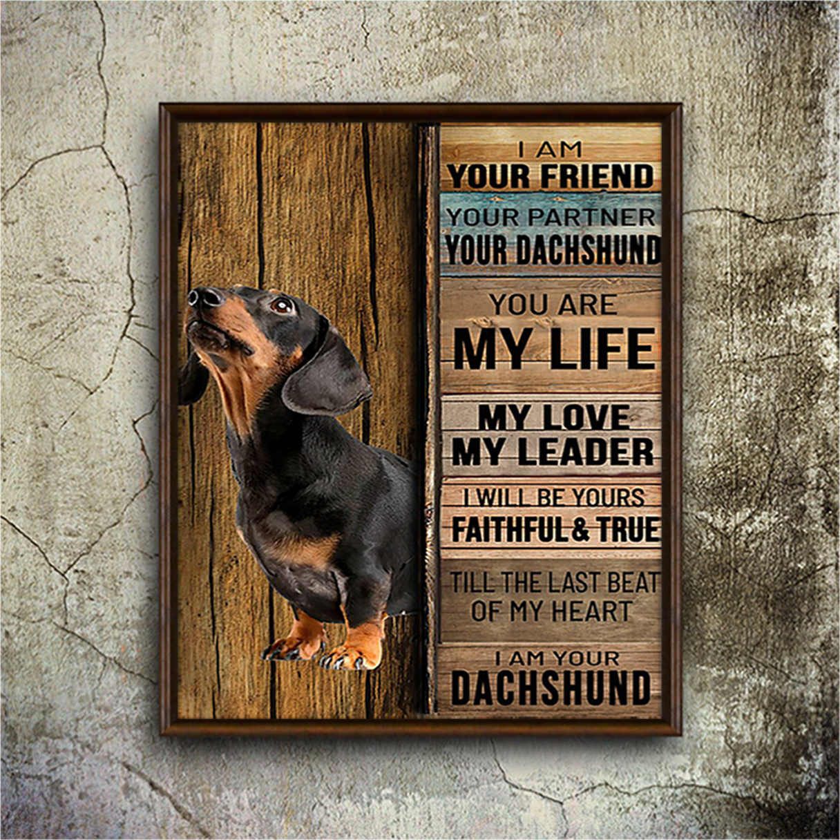 Dachshund I am your friend poster A3