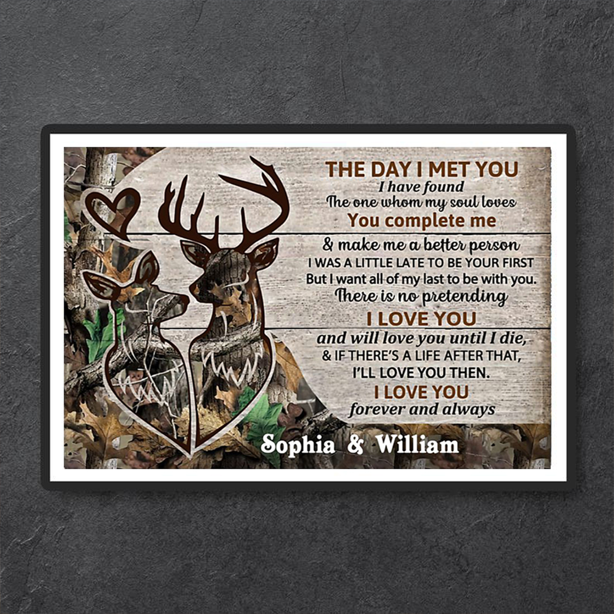 Deer couple the day I met you personalized custom name poster A1