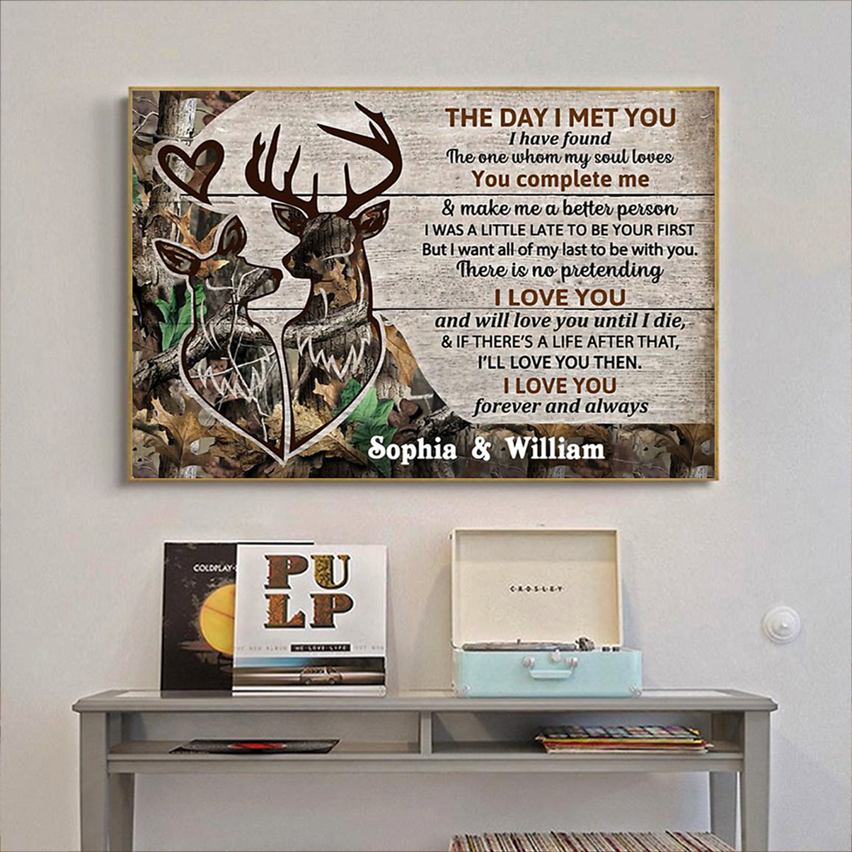 Deer couple the day I met you personalized custom name poster A2