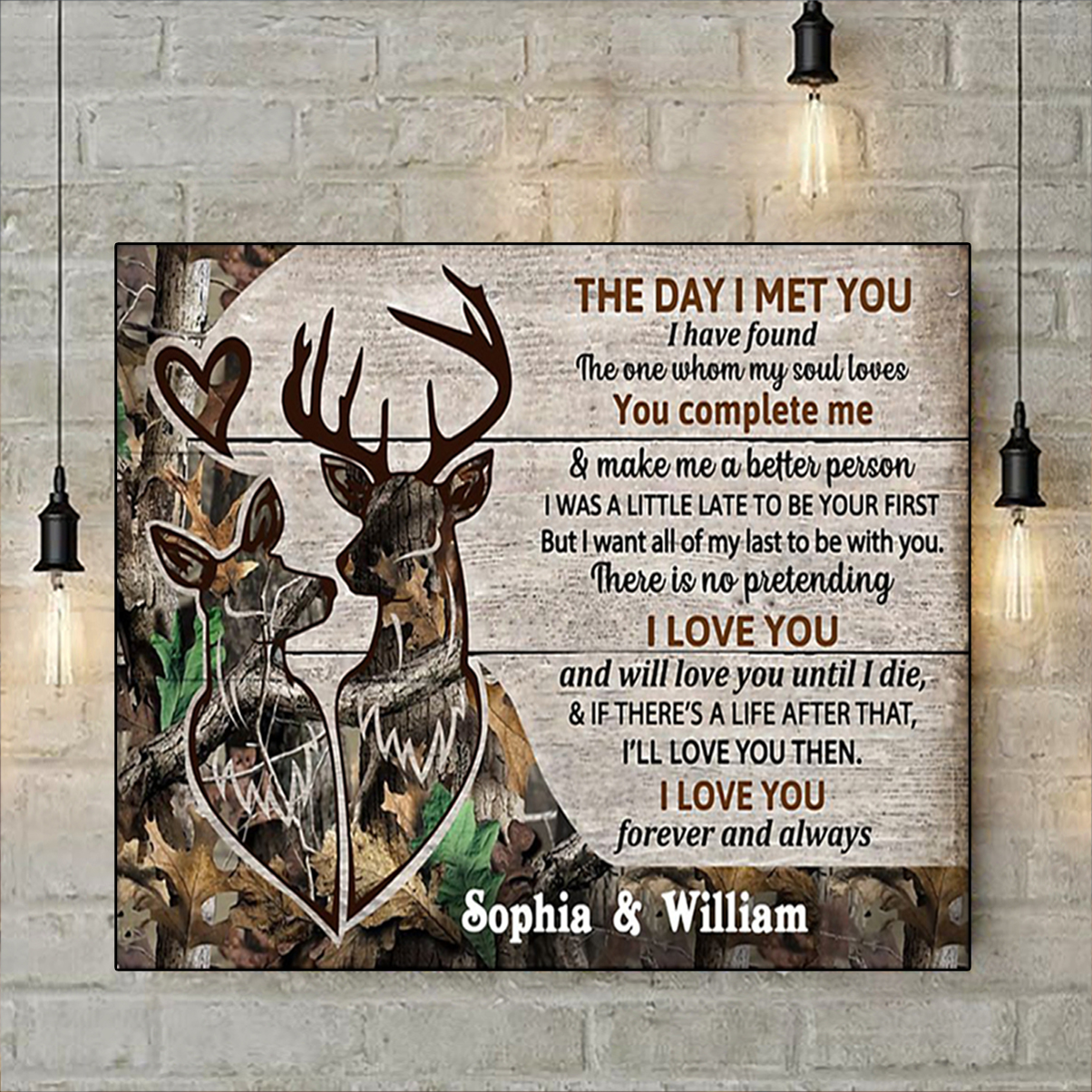 Deer couple the day I met you personalized custom name poster A3
