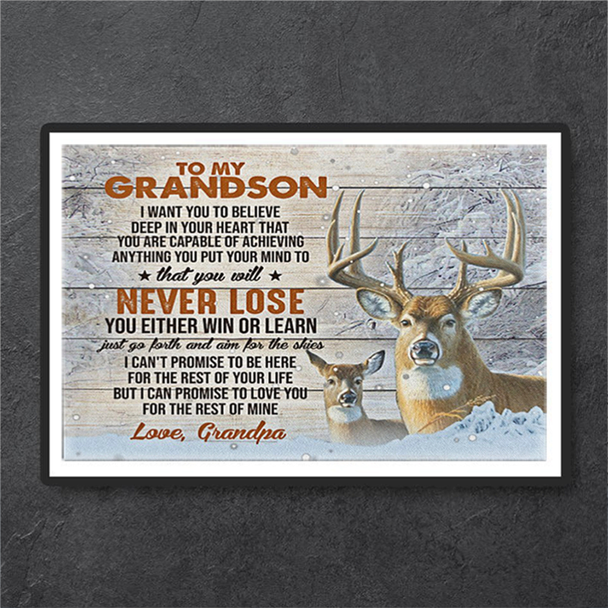 Deer drandpa to my grandson I want you to believe canvas