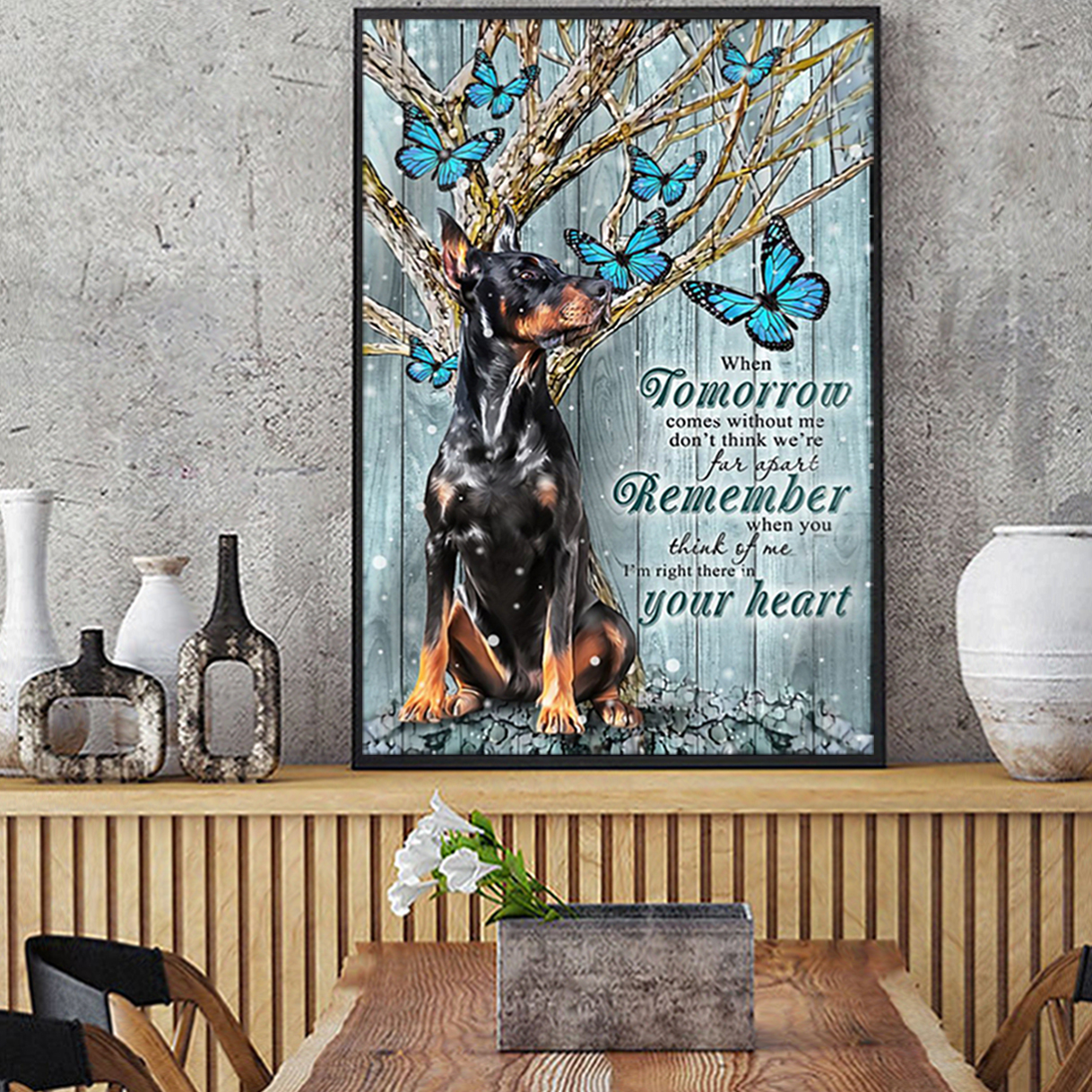 Doberman winter when tomorrow comes without me poster A2