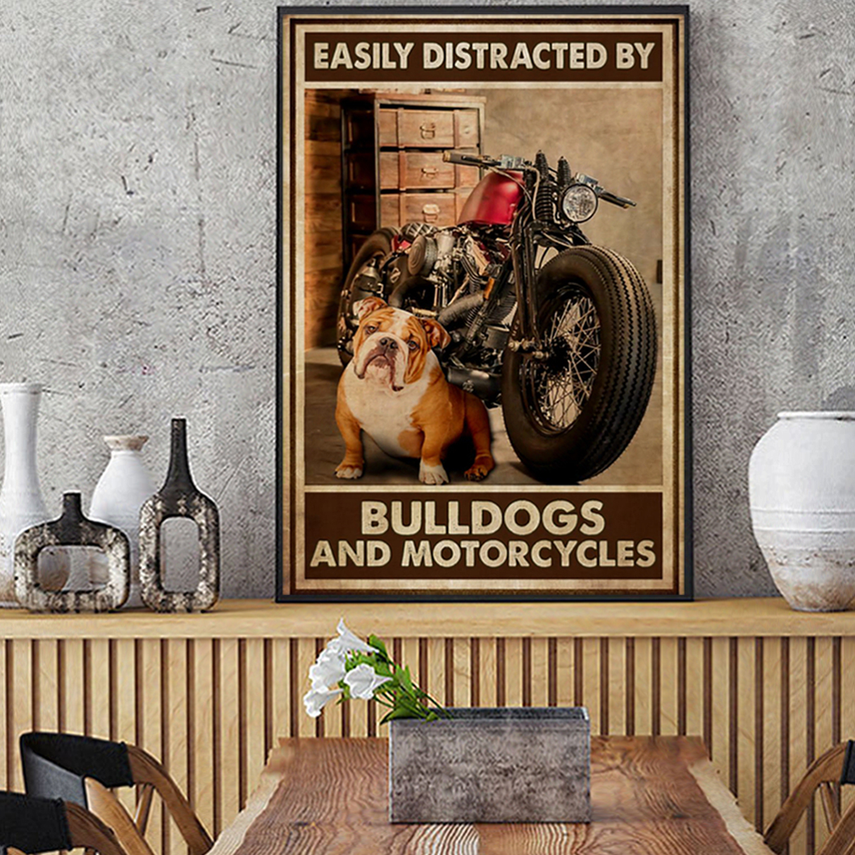 Easily distracted by bulldog and motorcycles poster A2