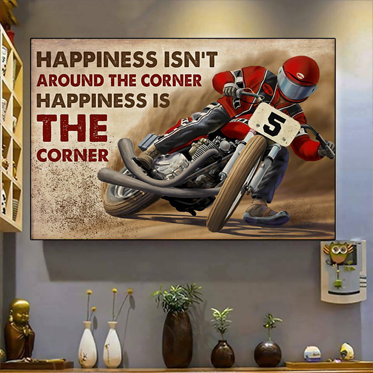 Flat track racing happiness isn't around the corner poster A2