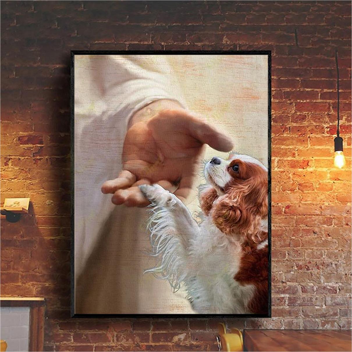 God jesus cavalier king charles spaniel take my hand canvas large