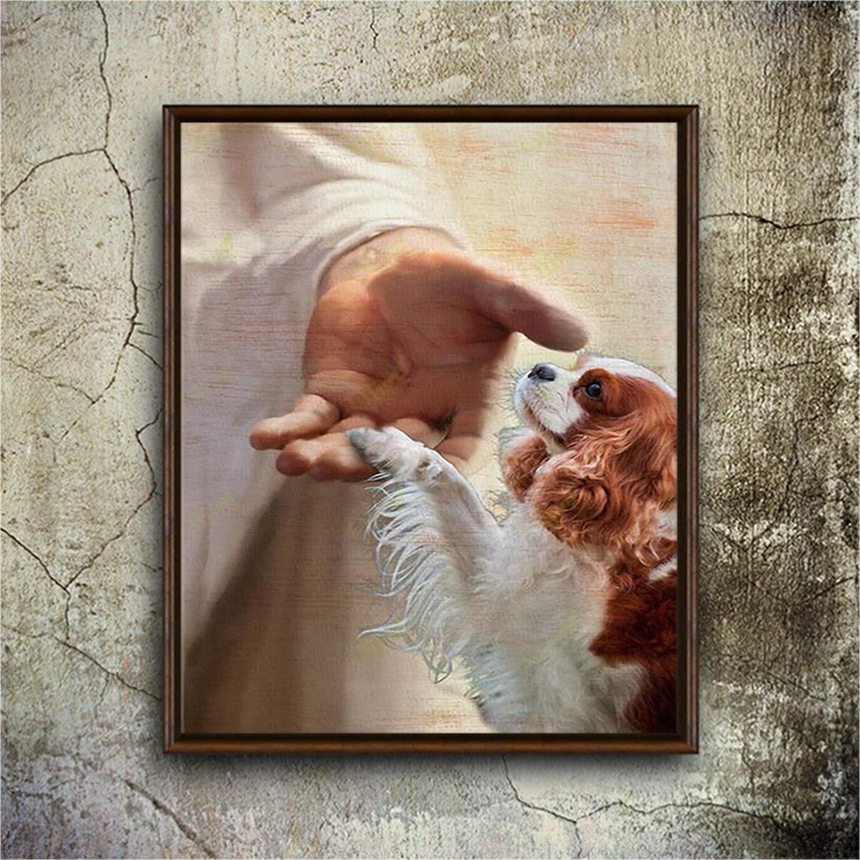 God jesus cavalier king charles spaniel take my hand canvas medium