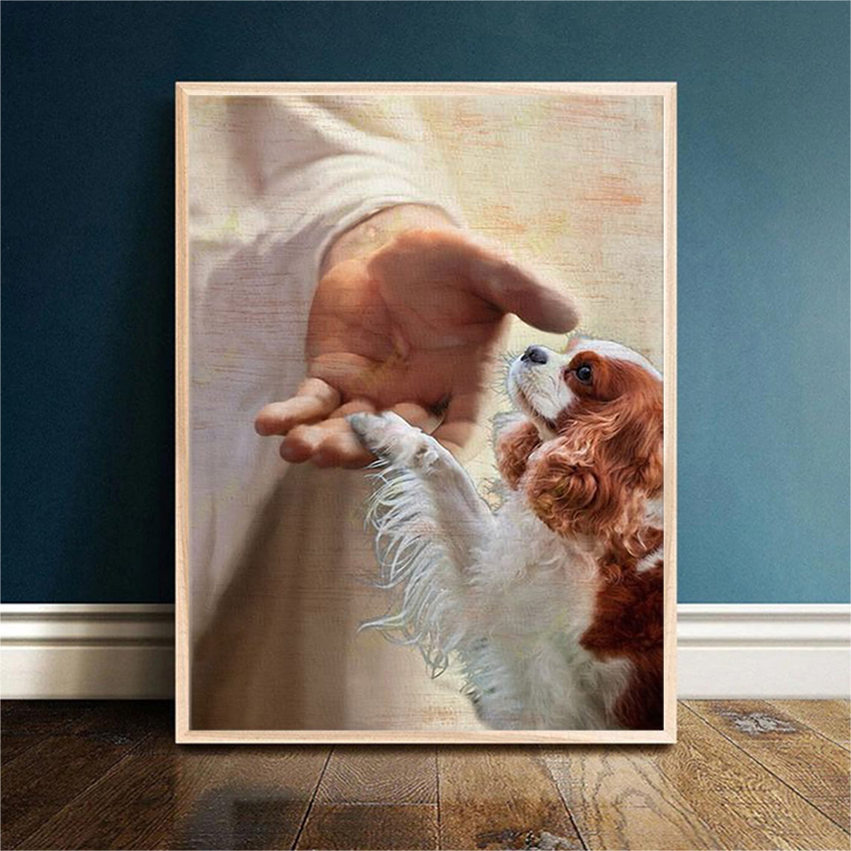 God jesus cavalier king charles spaniel take my hand canvas small