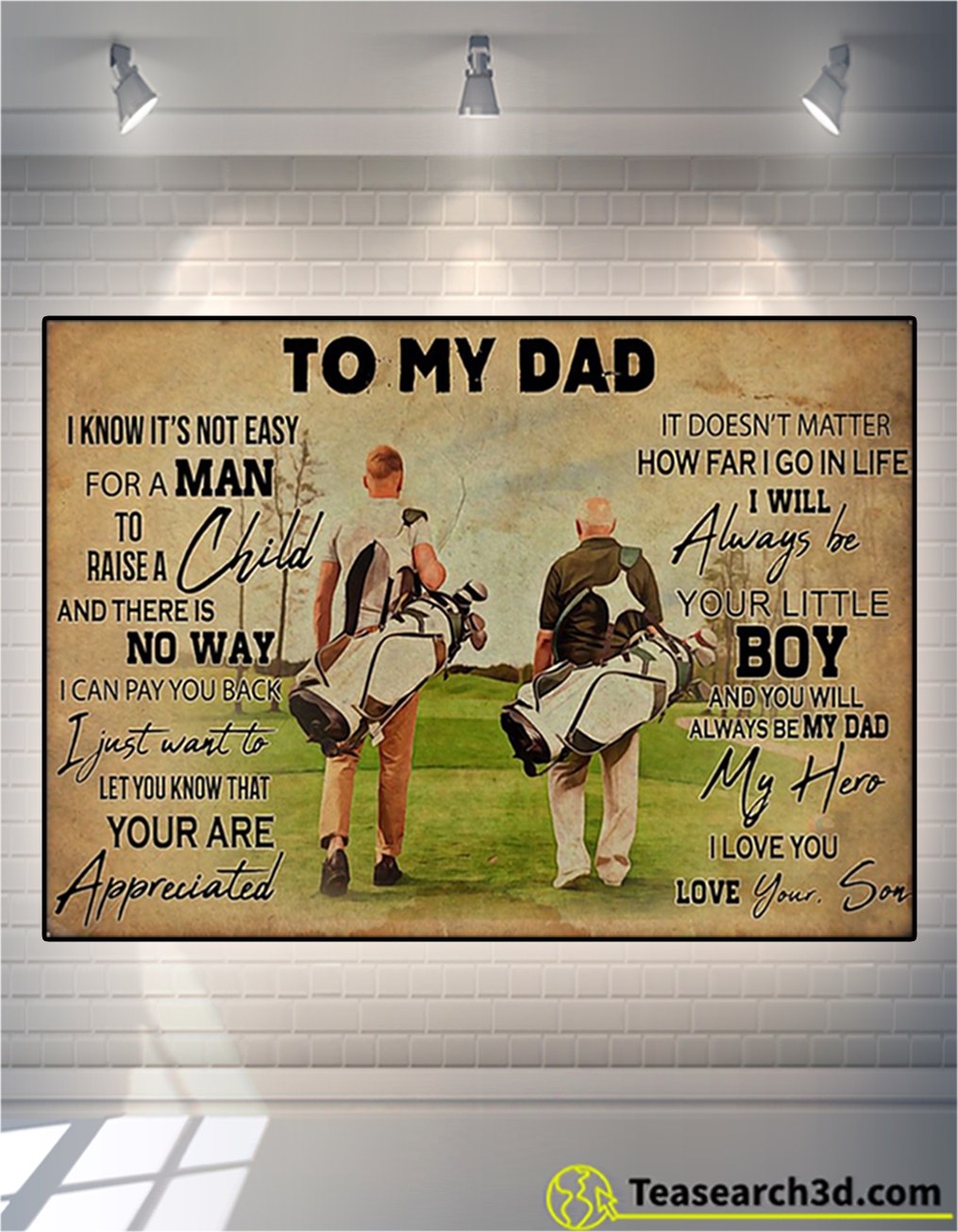 Golf to my dad love your son poster