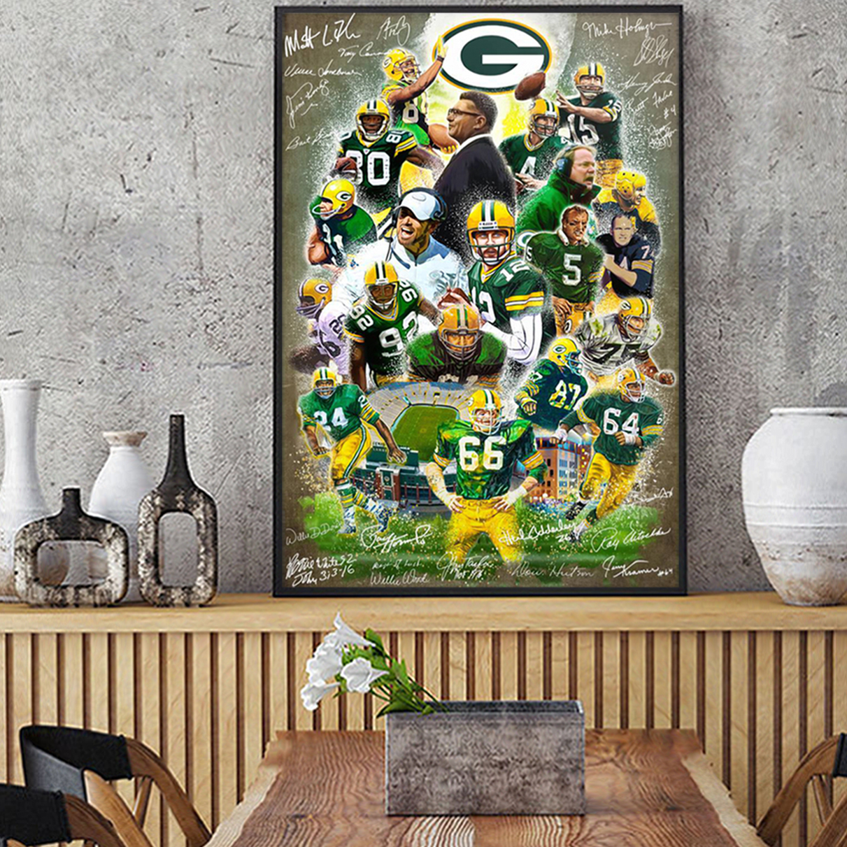 Green bay packers signature poster A1