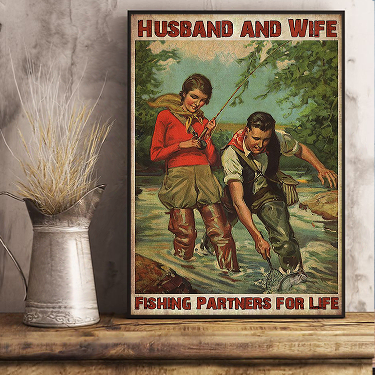 Husband and wife fishing partners for life poster A2