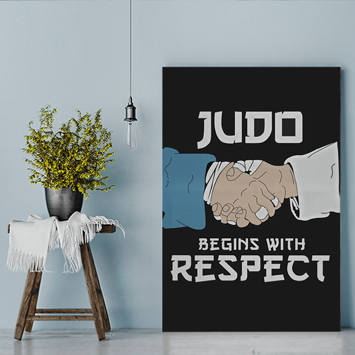 Judo begins with respect canvas prints large