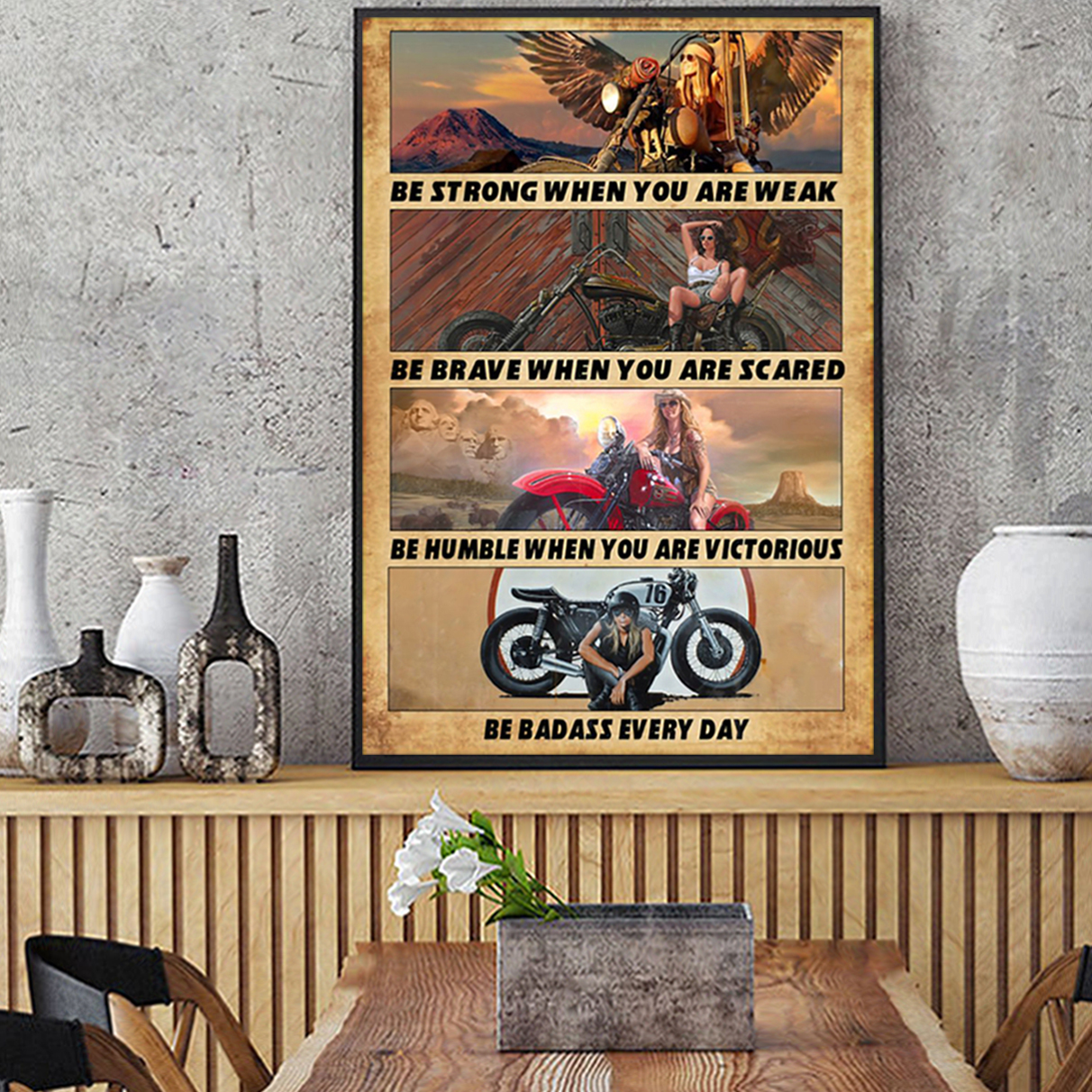 Motorcycle girl be strong poster A1