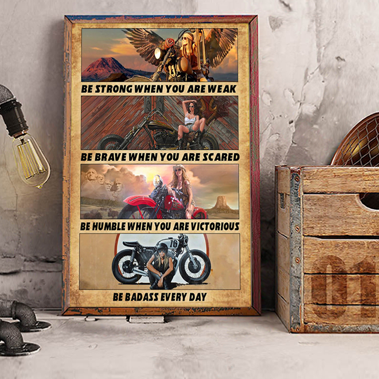 Motorcycle girl be strong poster A3
