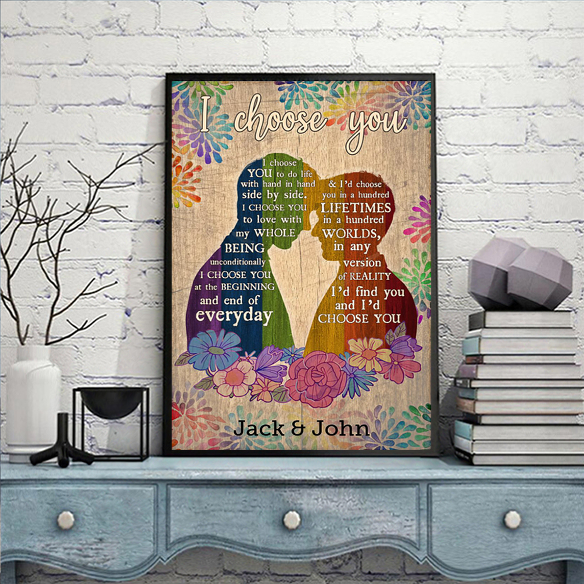 Personalized custom name LGBT couple I choose you poster A2