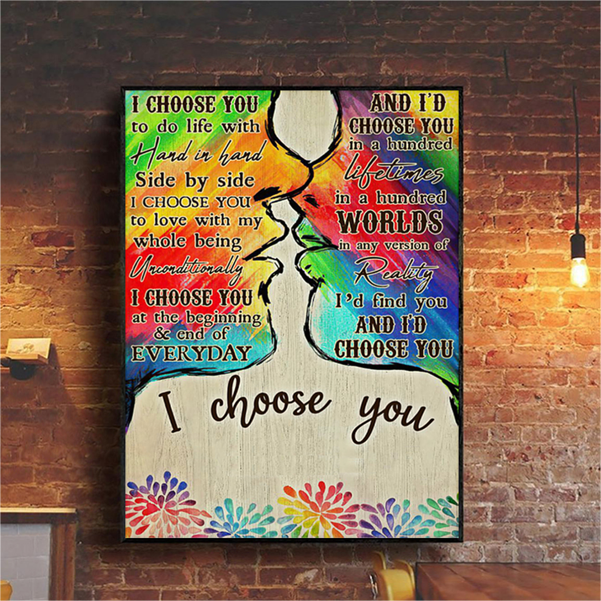 Personalized custom name LGBT kiss I choose you poster A1