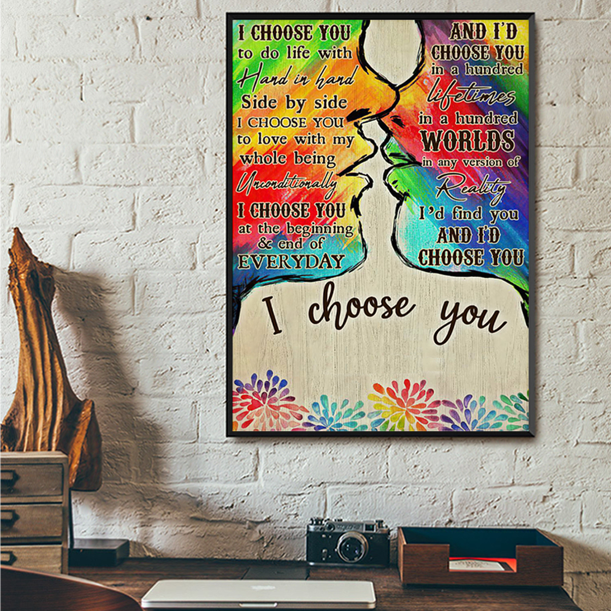 Personalized custom name LGBT kiss I choose you poster A2