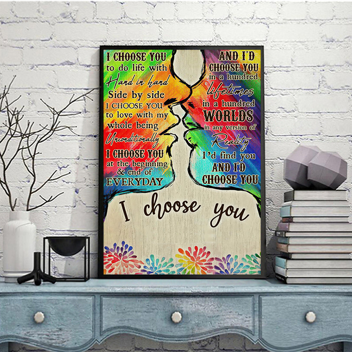 Personalized custom name LGBT kiss I choose you poster A3