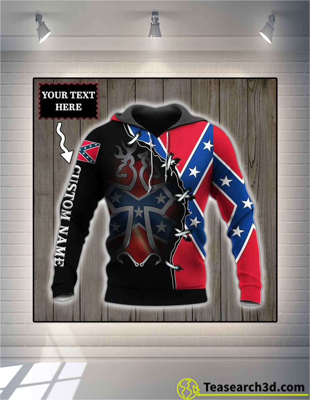 Personalized custom name Rebel dear flag 3d all over printed hoodie size L