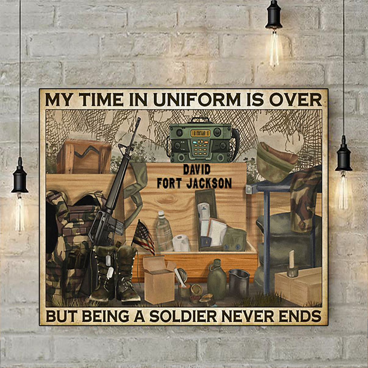 Personalized custom name Veteran my time in uniform is over poster A1