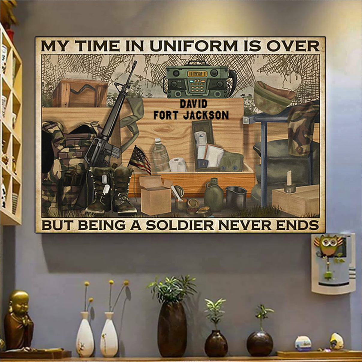 Personalized custom name Veteran my time in uniform is over poster A2
