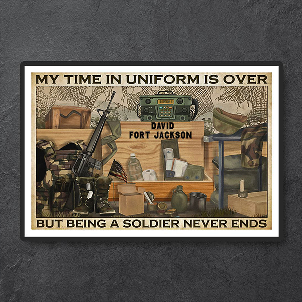 Personalized custom name Veteran my time in uniform is over poster A3