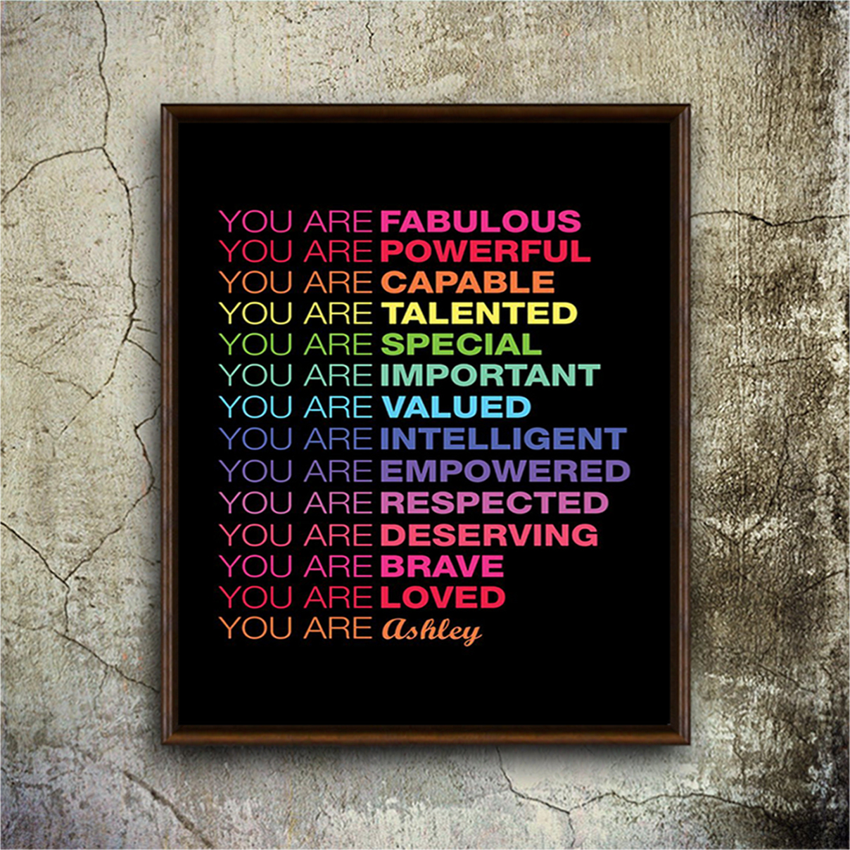 Personalized custom name You are fabulous you are powerful poster A3