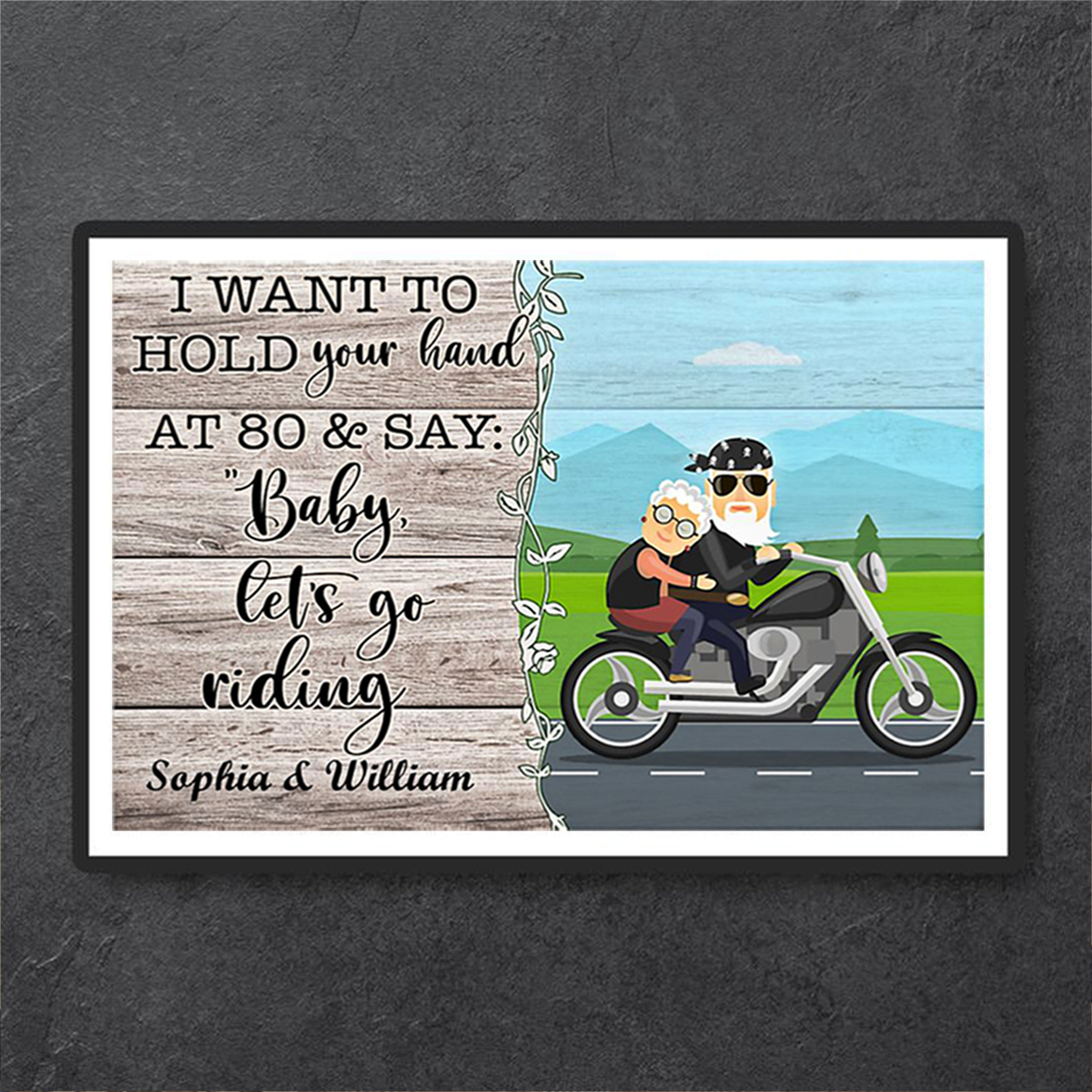 Personalized custom name biker I want to hold your hand poster A1