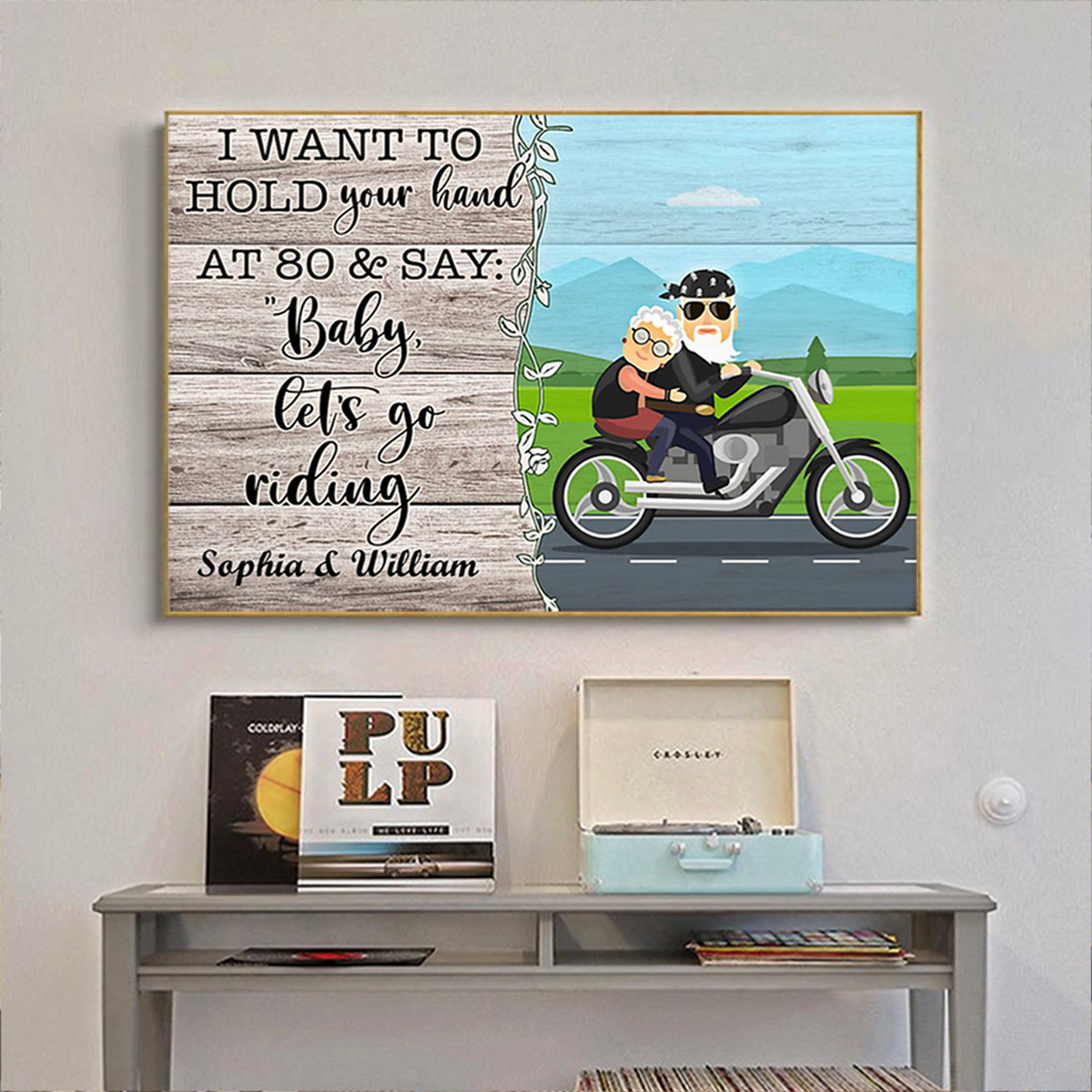 Personalized custom name biker I want to hold your hand poster A2