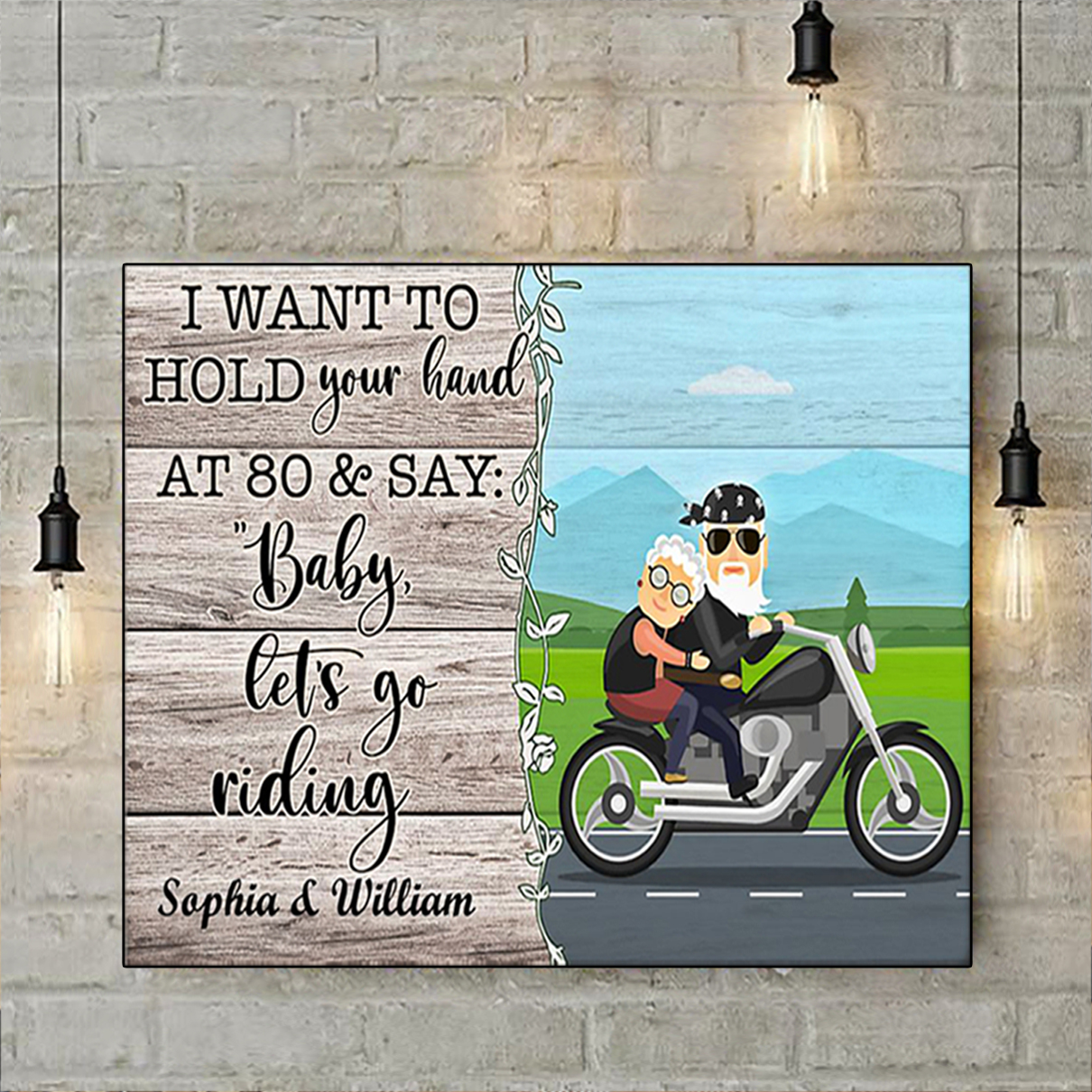 Personalized custom name biker I want to hold your hand poster A3