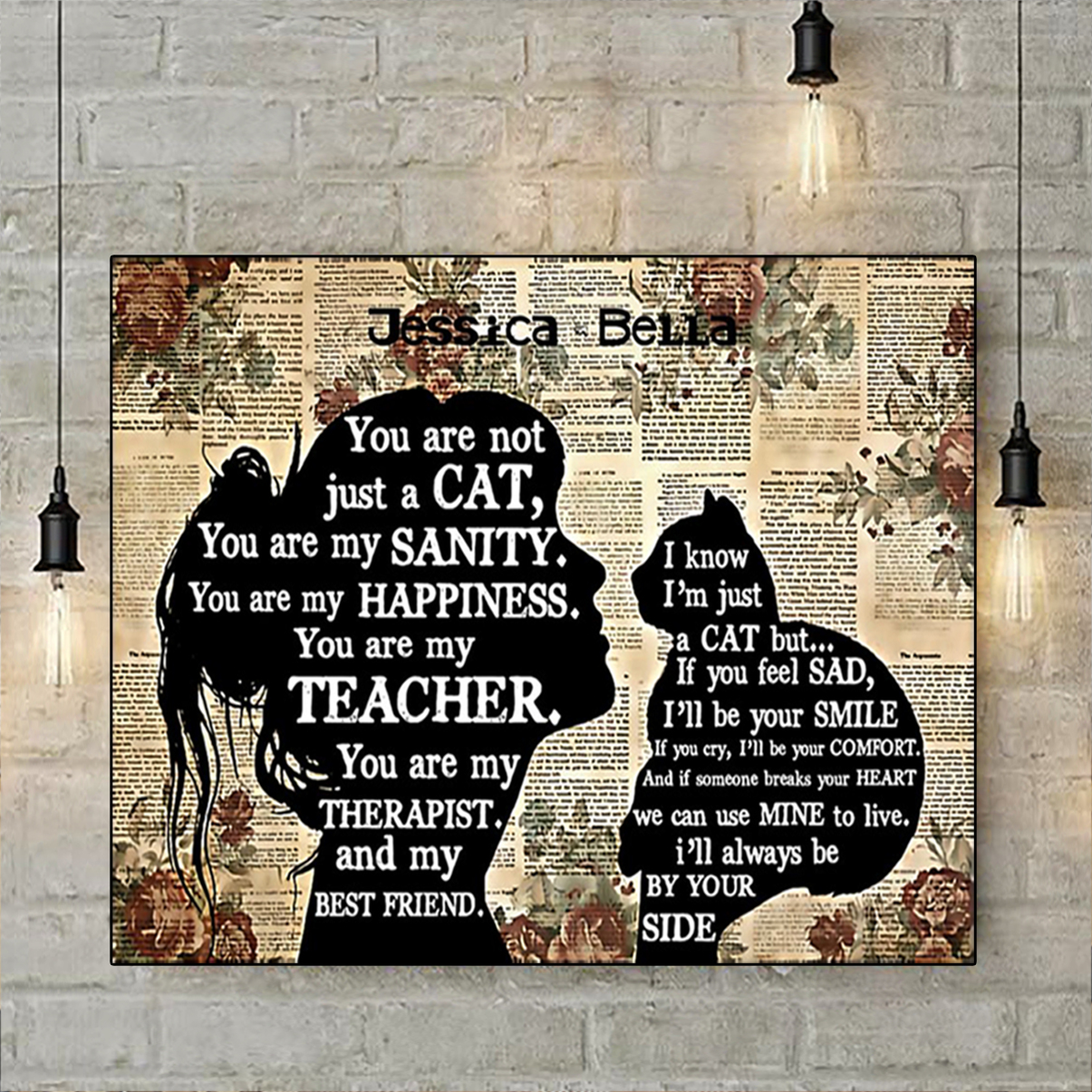 Personalized custom name cat you are my teacher poster A1