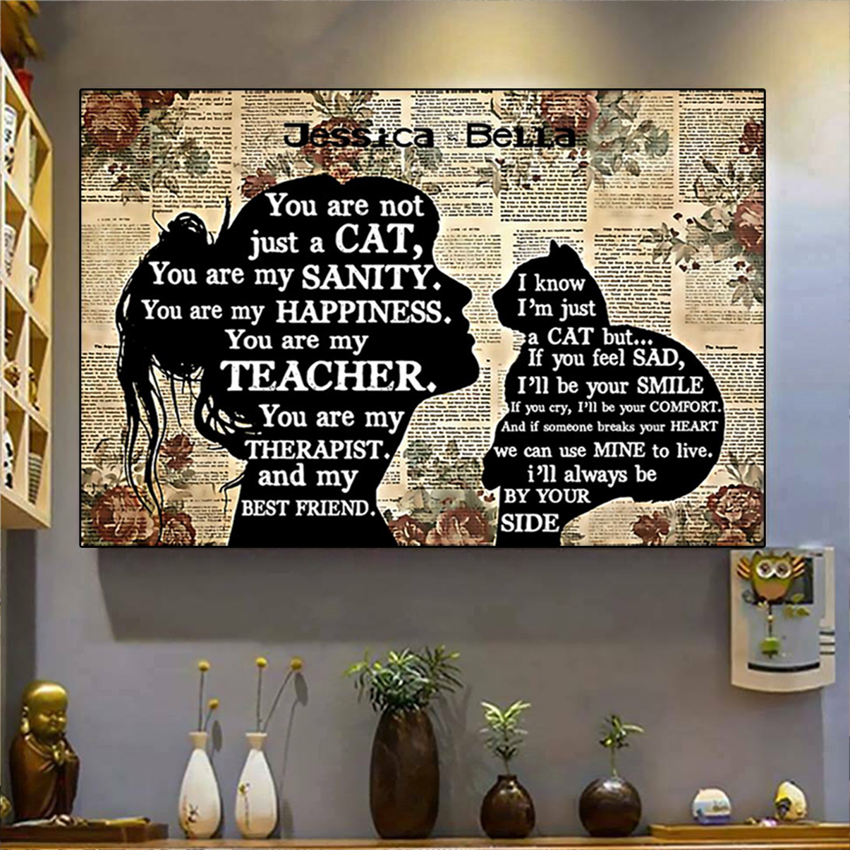 Personalized custom name cat you are my teacher poster A2