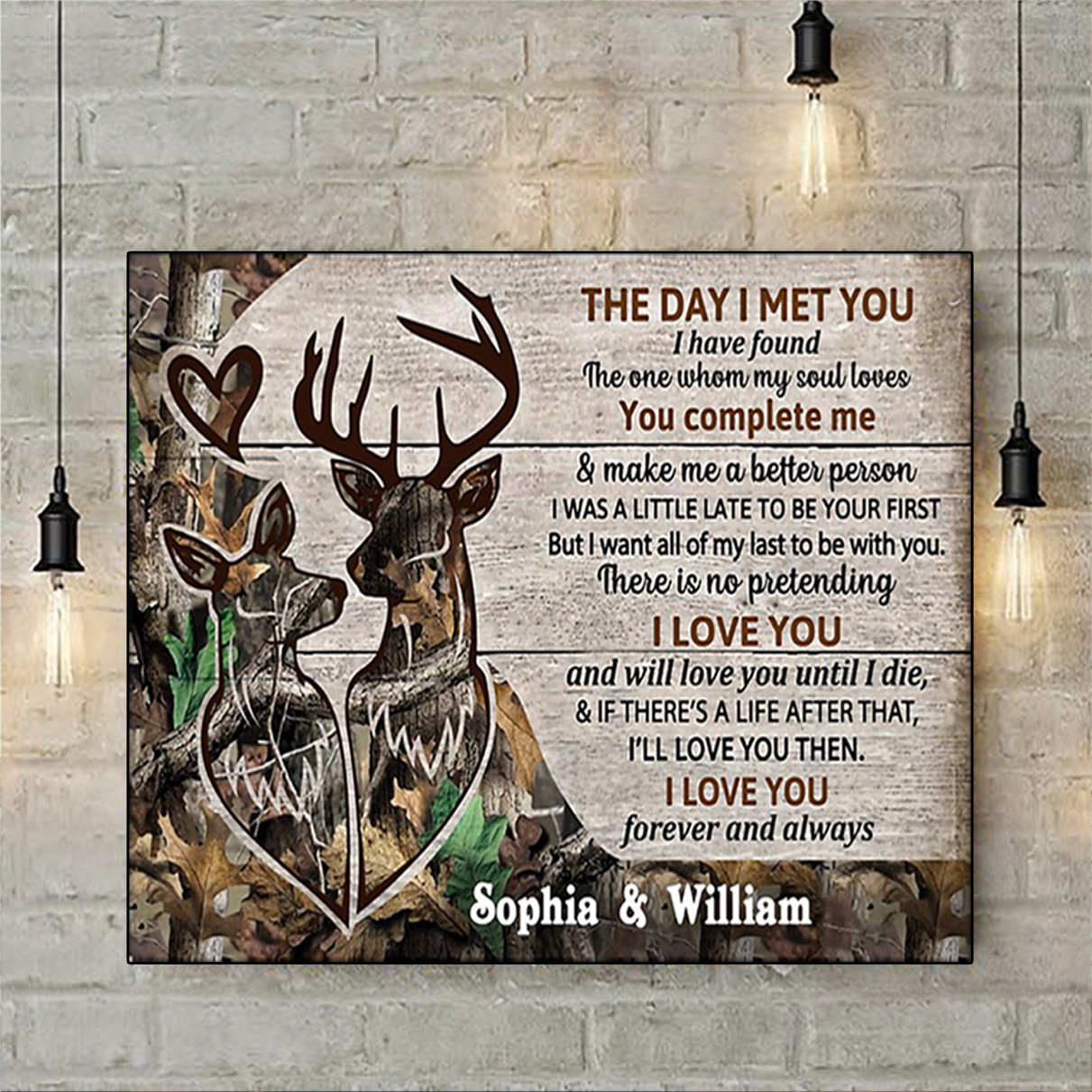 Personalized custom name deer couple camo the day I met you poster A1