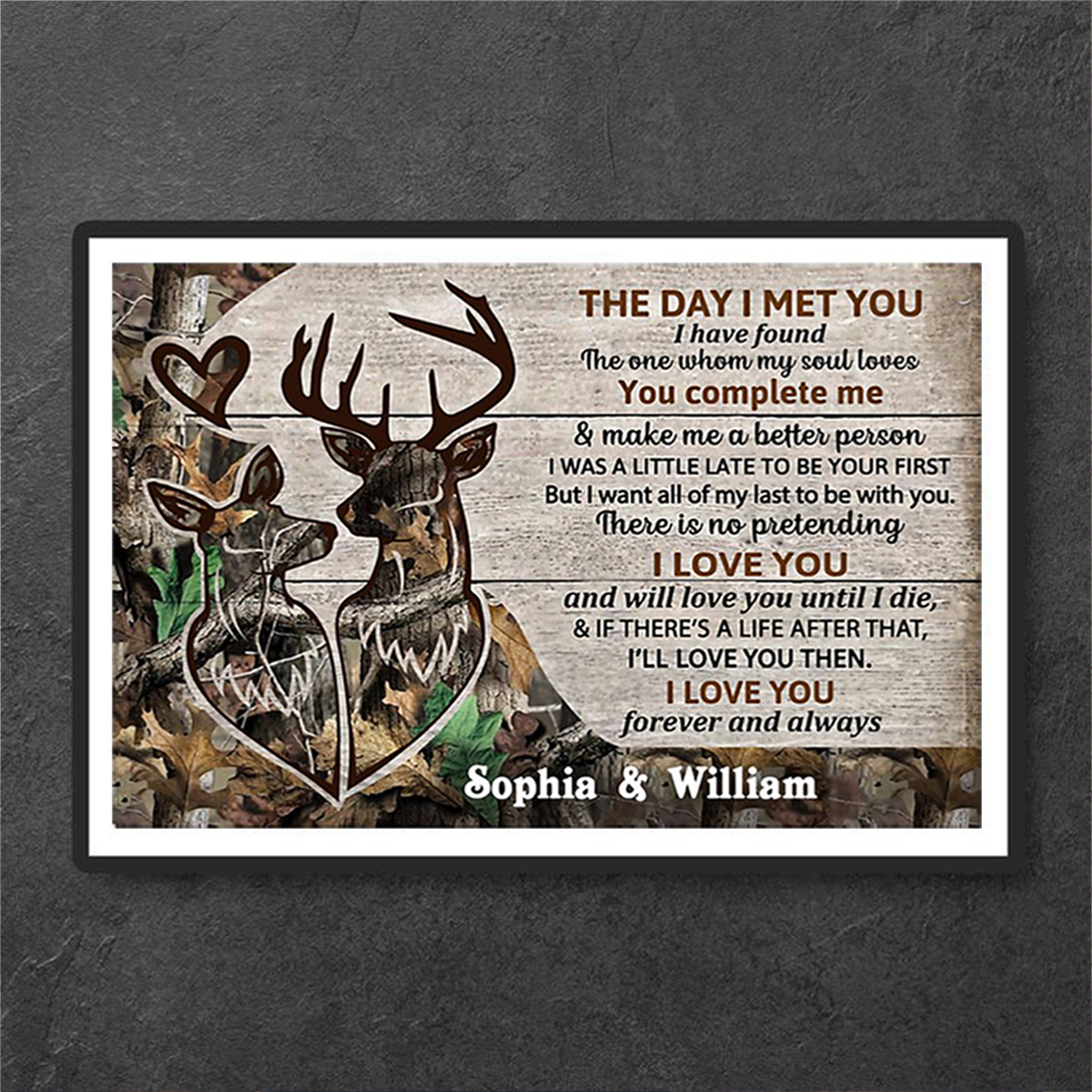 Personalized custom name deer couple camo the day I met you poster A3