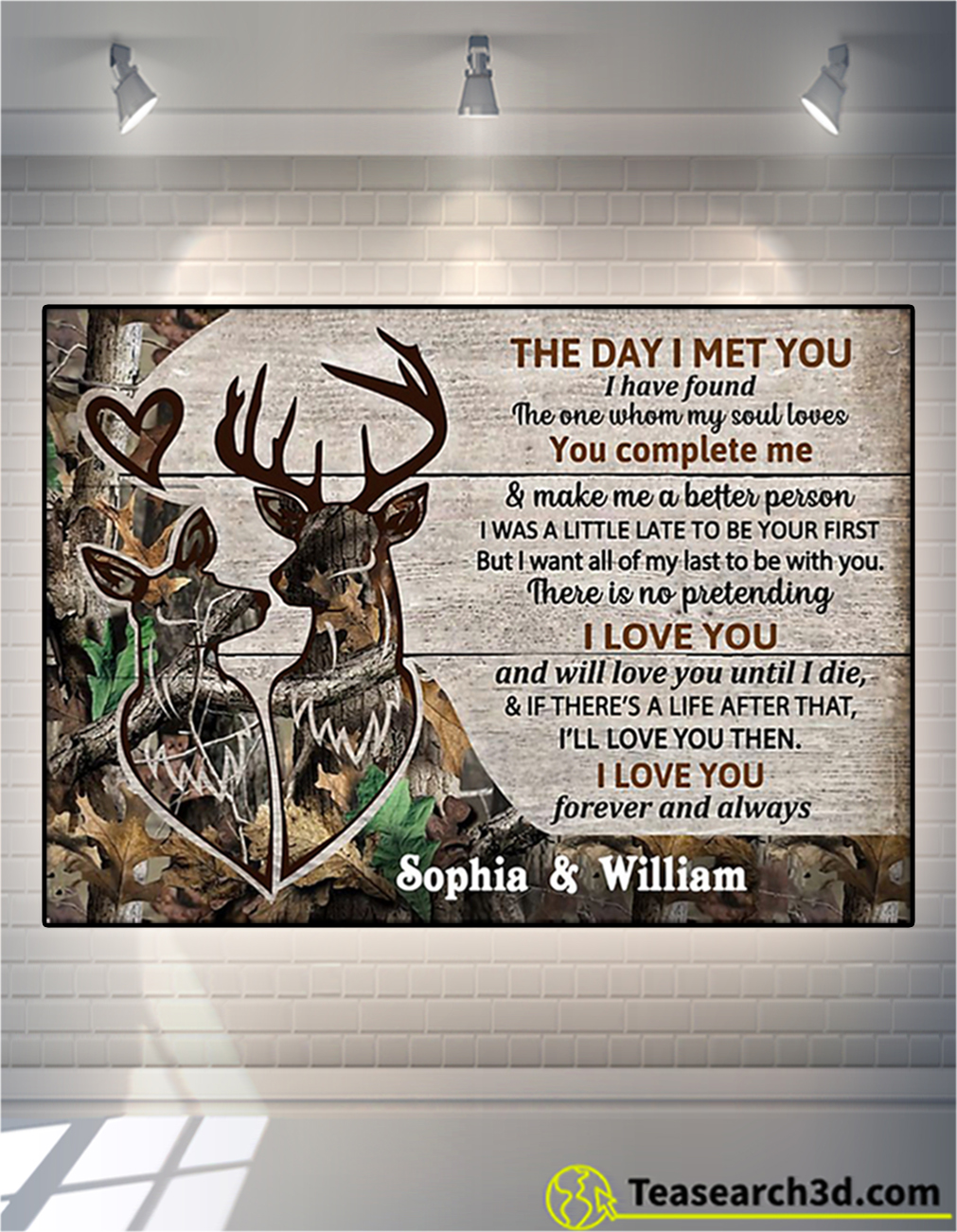 Personalized custom name deer couple camo the day I met you poster