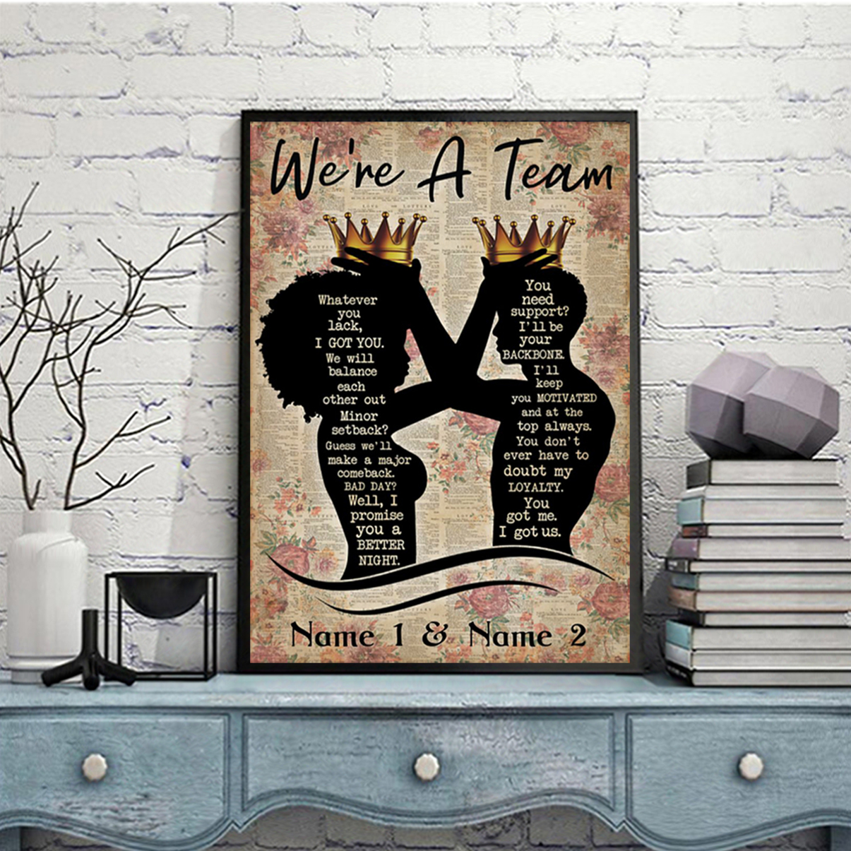 Personalized custom name family we're a team poster A1