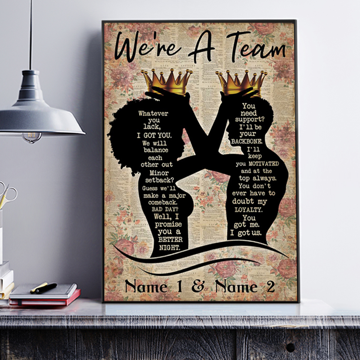 Personalized custom name family we're a team poster A2
