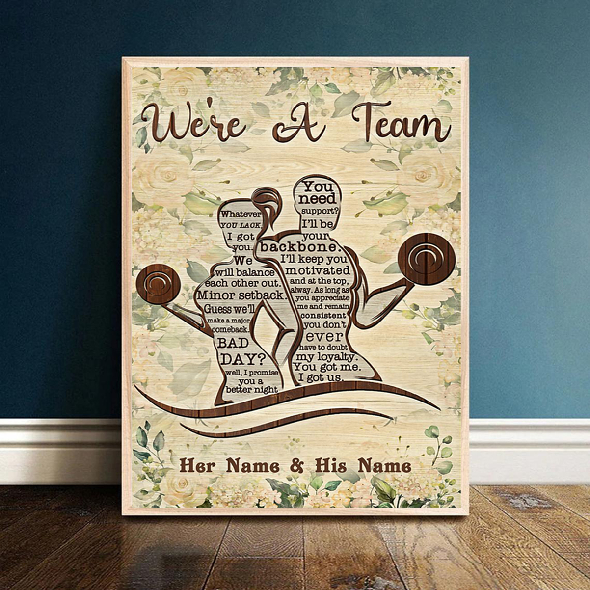 Personalized custom name fitness we're a team poster A1