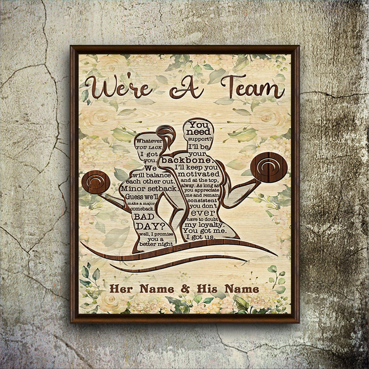 Personalized custom name fitness we're a team poster A2