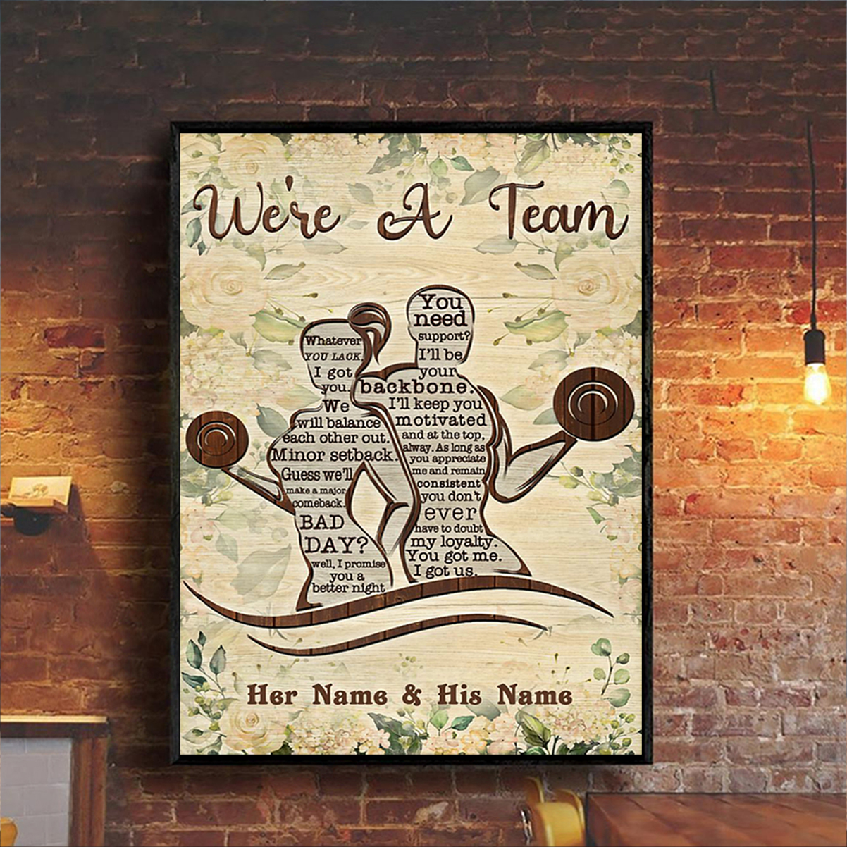 Personalized custom name fitness we're a team poster A3