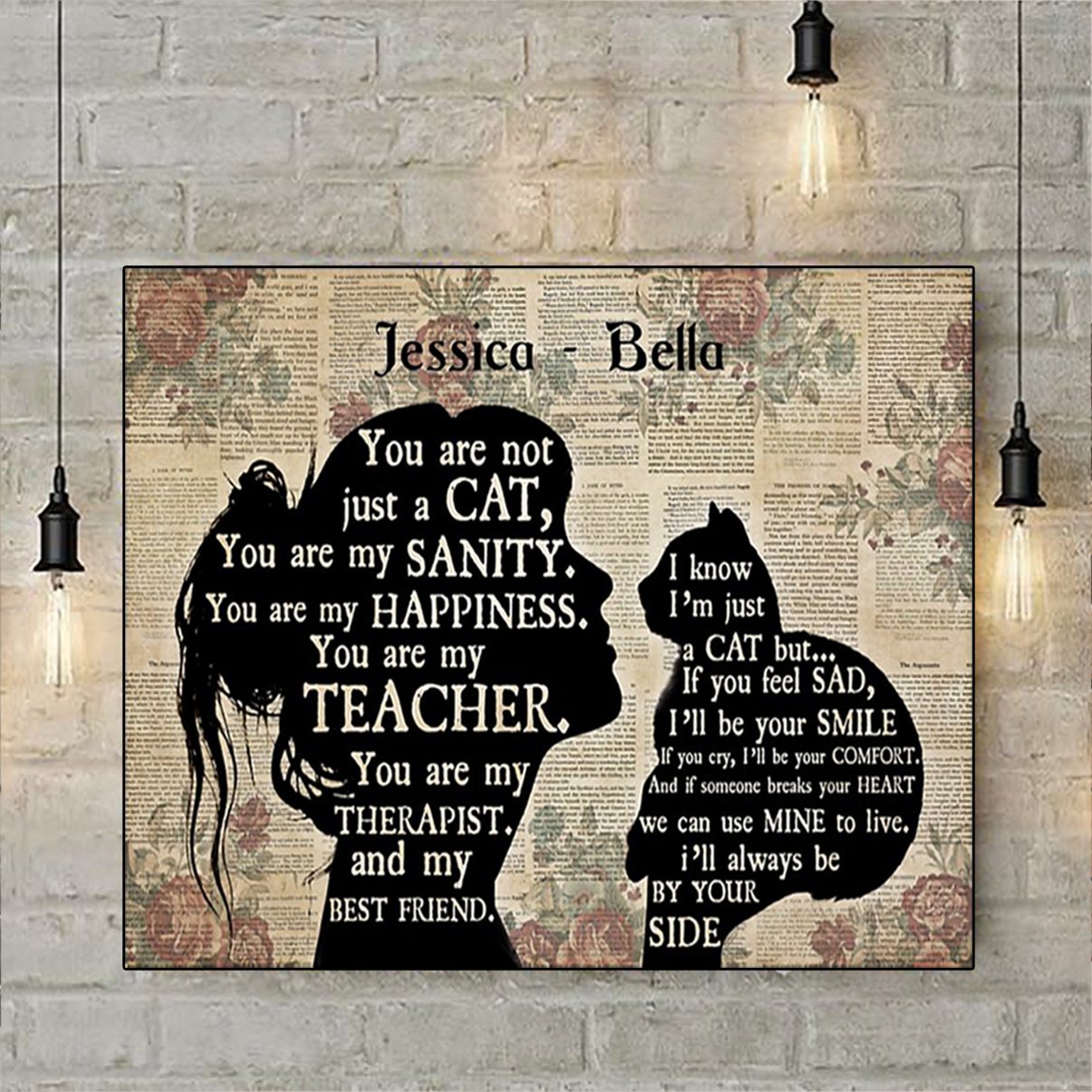 Personalized custom name girl cat silhouette poster A1