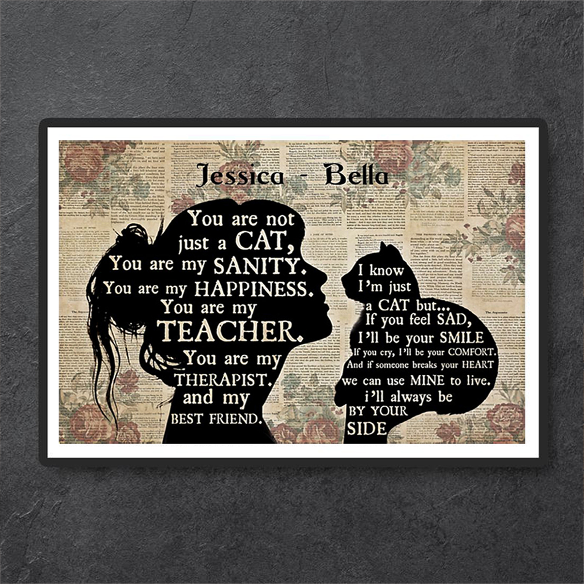 Personalized custom name girl cat silhouette poster A3