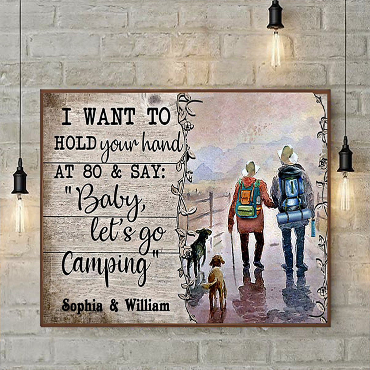 Personalized custom name husband wife camping poster A1